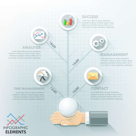business hand: Business hand infographic options template.
