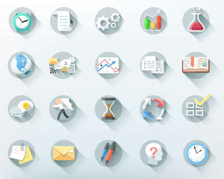 Set of 20 flat business icons.  Vector