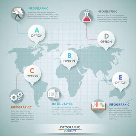 global background: 3d vector world map illustration and infographics design template. Illustration