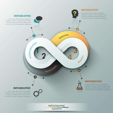simbolo infinito: Bandera opción infografía moderna Vectores