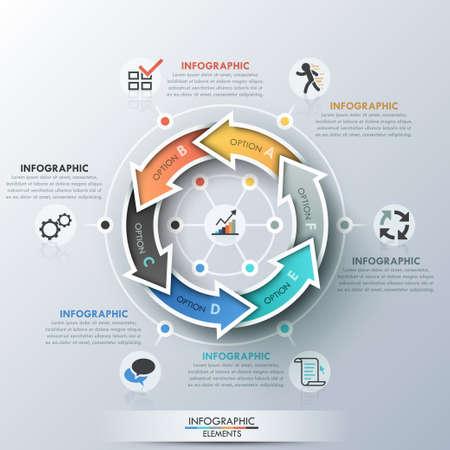 flechas curvas: Bandera moderna opciones infografías.