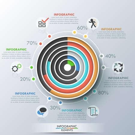 circulos concentricos: Bandera moderna opciones infografías.