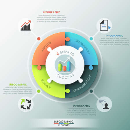 jigsaw puzzle pieces: Modern infographic options banner. Illustration