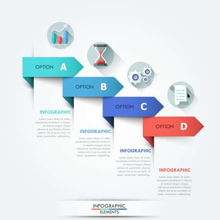 process: Bandera opción infografía moderna Vectores