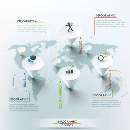 world map illustration and infographics design template.