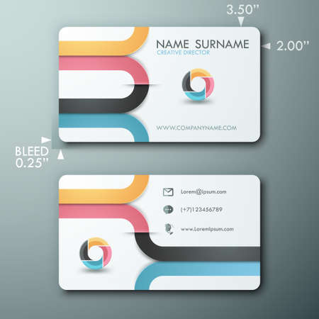 round icons: Modern simple light business card template with colorful ribbons and circle Illustration