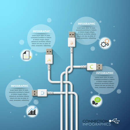 computer cable: Modern infographic option template Illustration