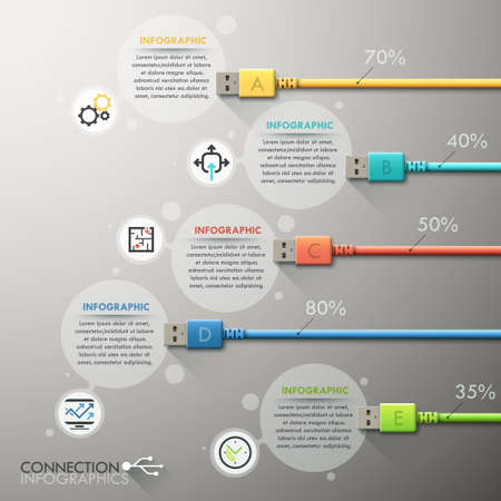 usb cable: Modern infographic option template Illustration