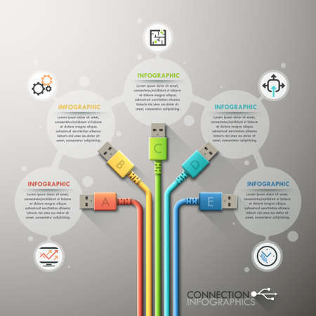 network cable: Modern infographic option template Illustration