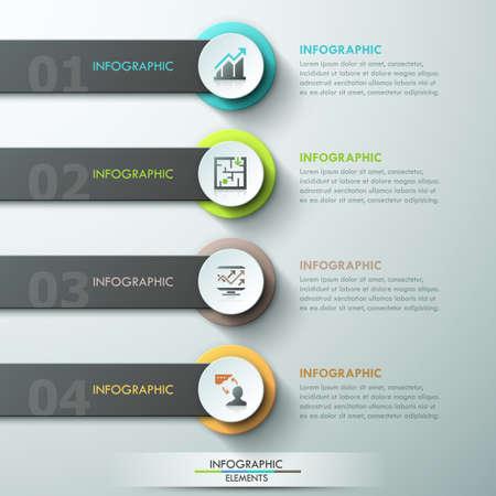 モダンなインフォ グラフィックは、紙サークル、リボンおよび 4 つのオプションのアイコンとテンプレートを処理します。ベクトル。Web デザインと