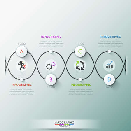 molecule symbol: Modern infographics process template with paper circles on dark path, icons and text for 4 options. Vector. Can be used for web design and  workflow layout