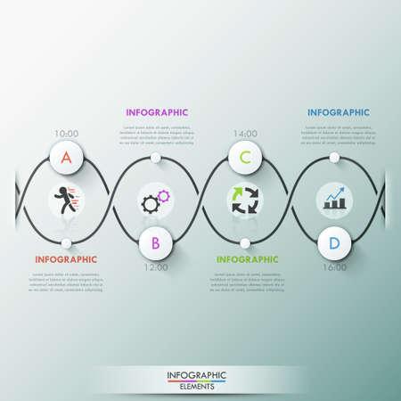 molecula: plantilla de proceso infografía moderna con círculos de papel en el camino oscuro, iconos y el texto para 4 opciones. Vector. Puede ser utilizado para el diseño web y el diseño de flujo de trabajo Vectores