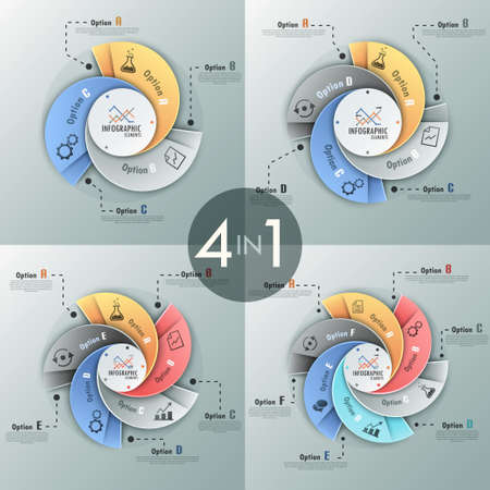 espiral: Conjunto de 4 infografía modernas opciones de bandera con opciones de plantilla hecha de cintas en espiral. Vector. Puede ser utilizado para el diseño web y el diseño de flujo de trabajo Vectores