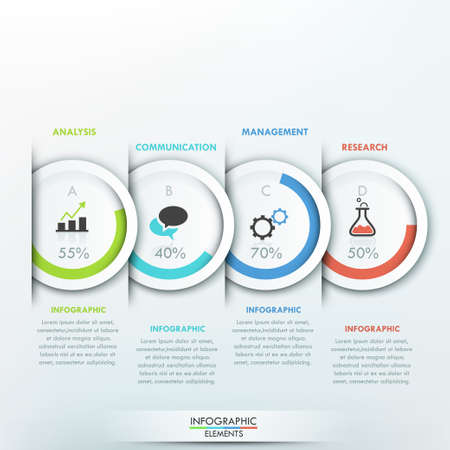 Modern infographics sjabloon met 4 papieren cirkels, taartdiagrammen en pictogrammen op een grijze achtergrond. Vector. Kan gebruikt worden voor web design en workflow-out