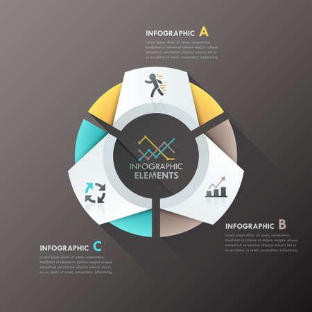 Modern infographics options banner with 3-part paper chart and icons. Vector. Can be used for web design and  workflow layout Illustration