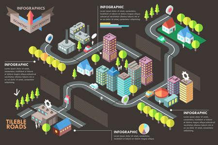 화려한 아이소 메트릭 도시와 현대 인포 그래픽 옵션 배너입니다. 벡터. 웹 디자인 및 워크 플로우 레이아웃을 사용할 수 있습니다