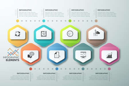 Modern infographics timeline template with 8 paper polygons. Vector. Can be used for web design and workflow layout