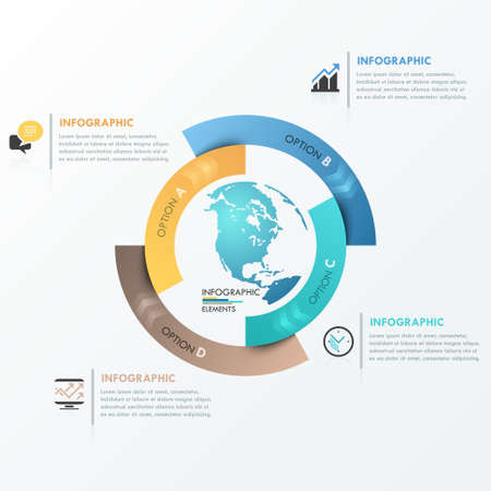 Modern infographics global template for 4 options. Vector. Can be used for workflow layout, banner, diagram, web design, infographic template.