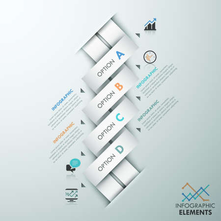 weaved: Modern infographic option template with 4 white weaved paper ribbons and icons on grey background. Vector. Can be used for web design and  workflow layout