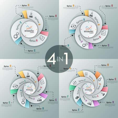 espiral: Conjunto de 4 infograf�a modernas opciones de bandera con opciones de plantilla hecha de cintas en espiral. Vector. Puede ser utilizado para el dise�o web y el dise�o de flujo de trabajo Vectores