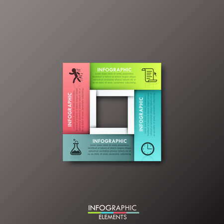 paper art projects: Modern infographics process template with rectangle shape made of 4 colorful ribbons on dark background. Vector. Can be used for web design and workflow layout
