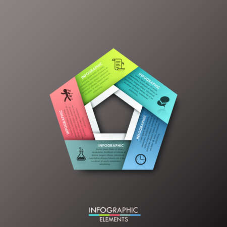 pentagon: Modern infographics process template with pentagon shape made of 5 colorful ribbons on dark background. Vector. Can be used for web design and workflow layout Illustration