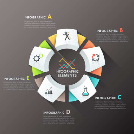 Modern infographics options banner with 5-part paper chart and icons. Vector. Can be used for web design and  workflow layout
