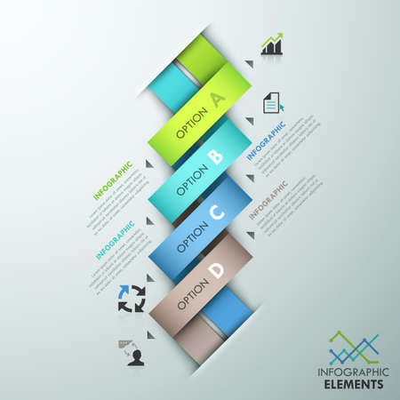 weaved: Modern infographic option template with 4 colorful weaved paper ribbons and icons on grey background. Vector. Can be used for web design and  workflow layout Illustration