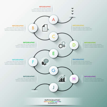 Modern infographics process template with 9 paper circles on dark path, icons and text. Vector. Can be used for web design and  workflow layout Illustration