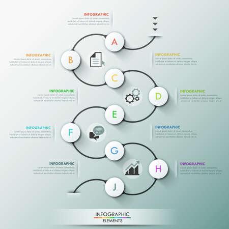 Plantilla de proceso infografía moderna con 9 círculos de papel en camino oscuro, iconos y texto. Vector. Puede ser utilizado para el diseño web y el diseño del flujo de trabajo