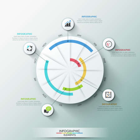 Modern infographics template with paper circle, pie charts and icons on grey background. Vector. Can be used for web design, workflow layout and work plan