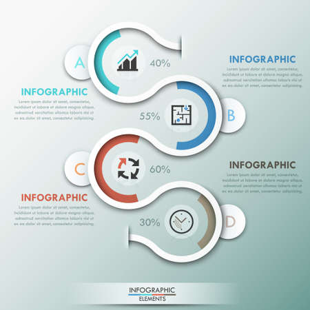 modern background: Modern infographics template with 4 paper path, pie charts and icons on grey background. Vector. Can be used for web design and  workflow layout