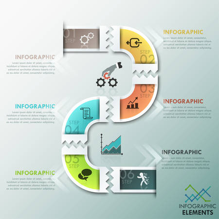 path: Modern infographics process template with paper path divided into 6 steps, icons and text. Vector. Can be used for web design and  workflow layout