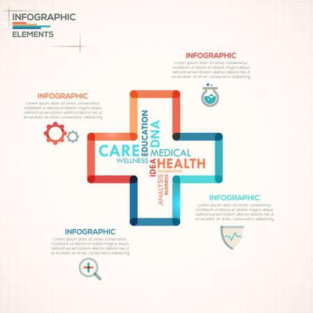 Medical info graphics options template Ilustração
