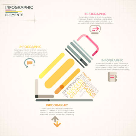 social media icons: Modern infographics options banner with colorful pencil in outline style. Vector. Can be used for web design and  workflow layout