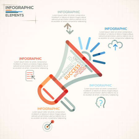 megaphone icon: Modern infographics options banner with colorful megaphone in outline style. Vector. Can be used for web design and  workflow layout