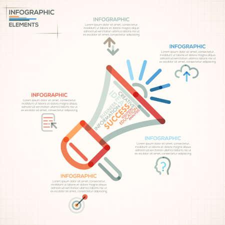 megafono: Opciones de infograf�a moderna pancarta con el meg�fono colorido en estilo de esquema. Vector. Puede ser utilizado para el dise�o web y el dise�o de flujo de trabajo Vectores
