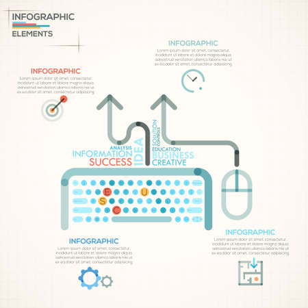 Modern infographics options banner with colorful keyboard in outline style. Vector. Can be used for web design and  workflow layout Ilustração