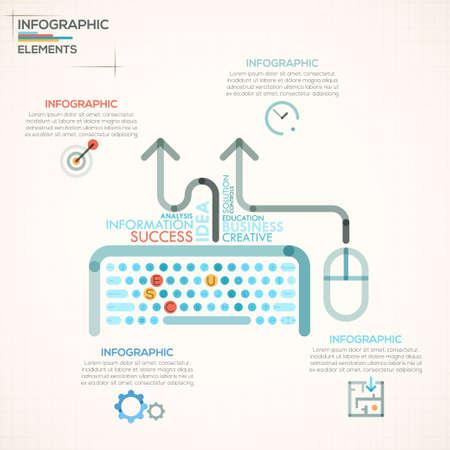 tecnología informatica: Opciones de infografía moderna bandera con teclado colorido en el estilo de esquema. Vector. Puede ser utilizado para el diseño web y el diseño de flujo de trabajo