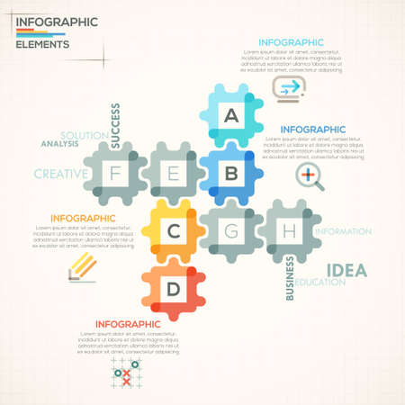 Modern infographics options banner with colorful puzzle pieces in outline style. Vector. Can be used for web design and  workflow layout