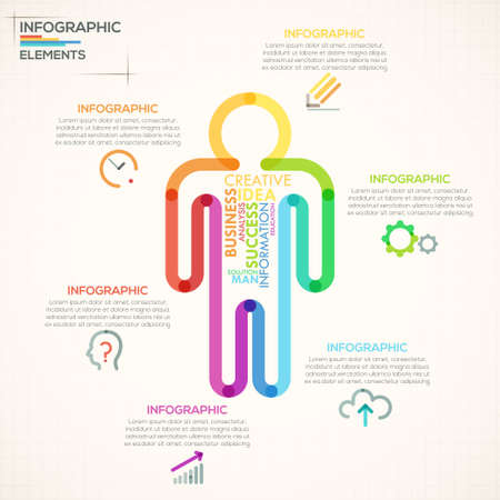Modern infographics options banner with colorful man in outline style. Vector. Can be used for web design and  workflow layout