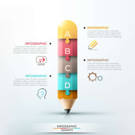 Modern infographic template with pencil divided into 4 colorful puzzle pieces.  Vector. Can be used for web design and  workflow layout Ilustração