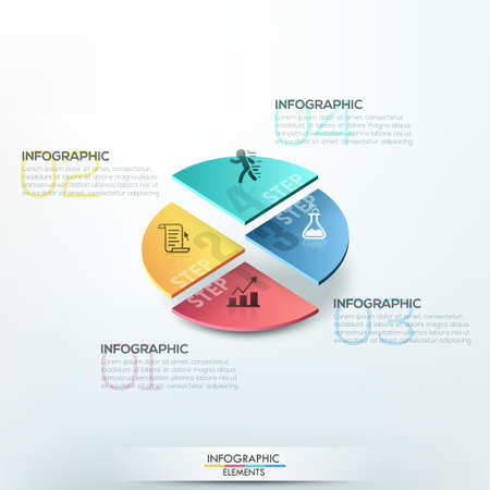 Isometric infographics options template with 3d colorful circle divided into 4 parts. Vector. Can be used for web design and  workflow layout Ilustração