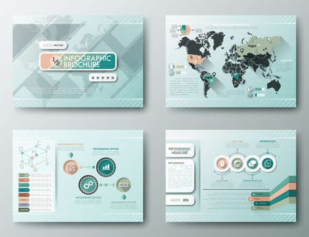 graphics design: Set of Flyer, Brochure Design Templates, Infographic vector elements. Modern styled graphics for data visualization. Can be used in website, flyer, corporate report, presentation, advertising, marketing, timeline, etc.
