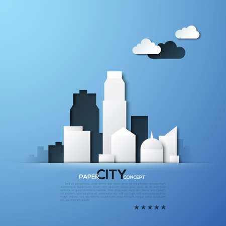 concept design: White paper city concept vector illustration. Can be used for web design and workflow layout