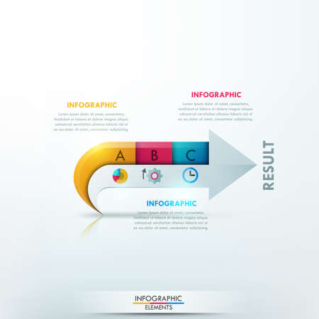 steps: Modern infographics options banner with arrow made of paper pieces for 3 steps. Vector. Can be used for web design and  workflow layout