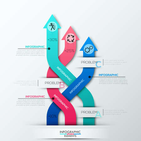 weaved: Modern infographics options banner with 3 weaved colorful paper arrows. Can be used for web design and  workflow layout