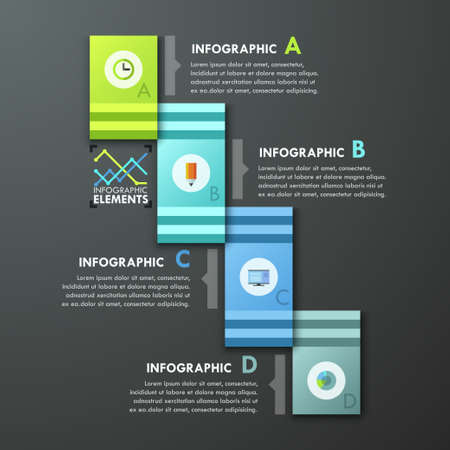 paper art projects: Modern infographic option banner with 4 paper rectangle ribbons on dark background. Vector. Can be used for web design and  workflow layout