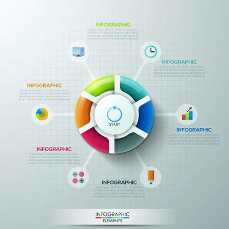 grafica de pastel: Bandera moderna opciones Infografía con 6 partes gráfico circular y los iconos. Vector. Puede ser utilizado para el diseño web y el diseño del flujo de trabajo