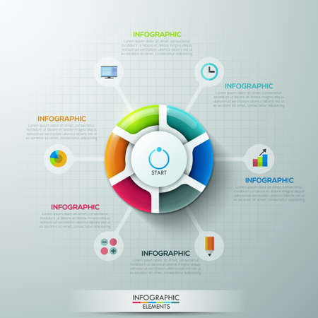 chart symbol: Modern infographics options banner with 6-part pie chart and icons. Vector. Can be used for web design and  workflow layout